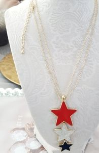 "New patriotic 34"" gold tone necklace"